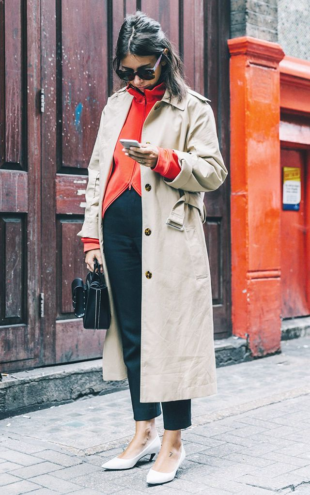 Style Tip: Wear a classic trench coat over a zip-up sweater, and pair the two with sophisticated staples, like tailored pants and pointed-toe pumps.