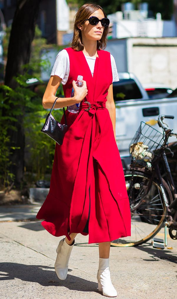 If you really want to go for it, try an all-red dress.