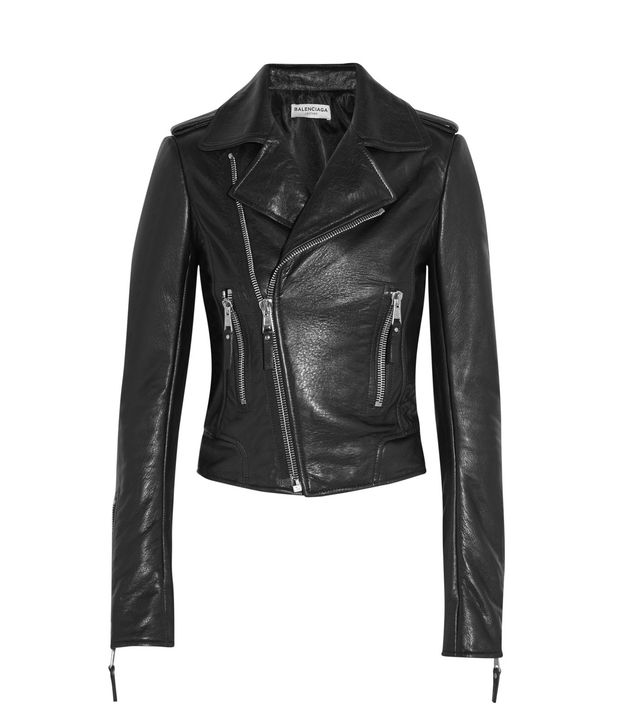 Balenciaga Textured-Leather Biker Jacket