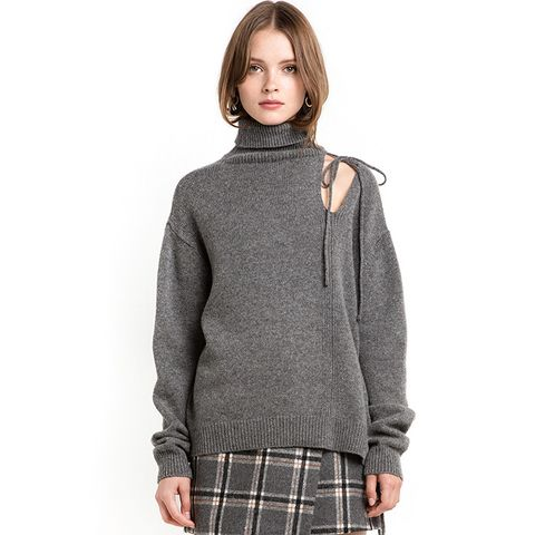 Back Tie Cut Out Grey Sweater