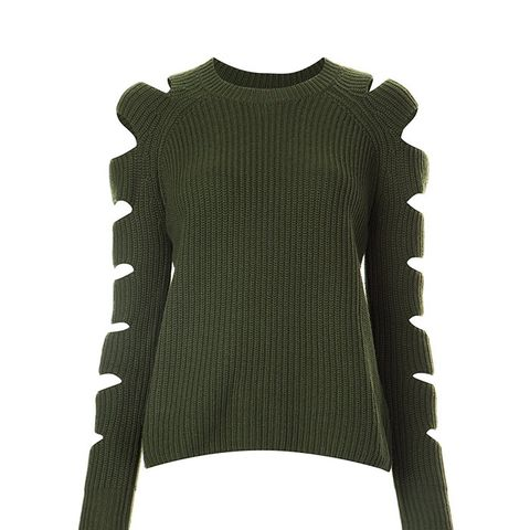 Cut-Out Sleeve Ribbed Jumper