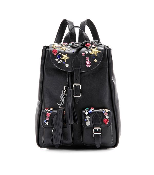 Embellished Leather Backpack by Saint Laurent