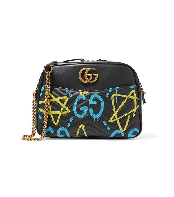 GucciGhost Print Leather Shoulder Bag by Gucci