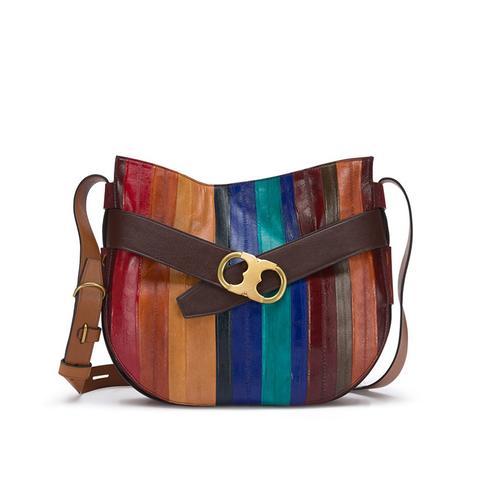 Gemini Link Belted Eel-Stripe Shoulder Bag
