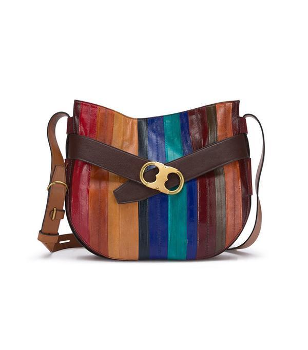 Gemini Link Belted Eel-Stripe Shoulder Bag by Tori Burch