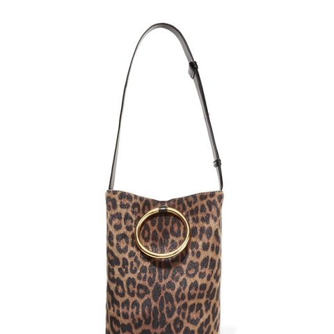 Bucket Leopard-Print Faux Calf Hair and Faux Leather Shoulder Bag