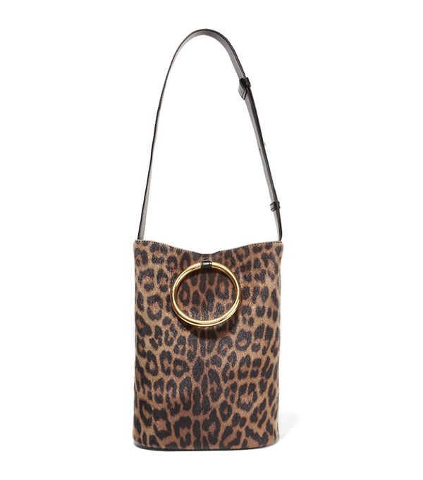 Bucket Leopard-Print Faux Calf Hair and Faux Leather Shoulder Bag by Stella McCartney