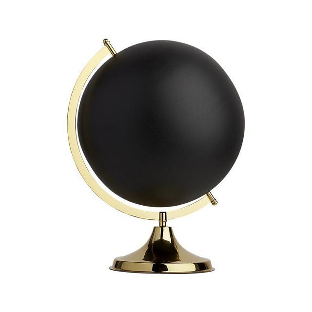 CB2 black and brass globe