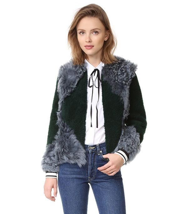 Bristol Fur Bomber Jacket Tory Burch