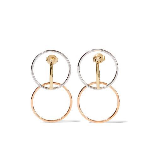 Galilea Gold-Dipped And Silver Hoop Earrings