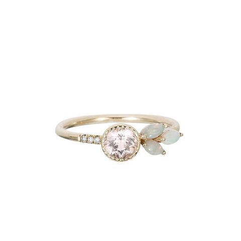 Morganite Opal Leaf Ring