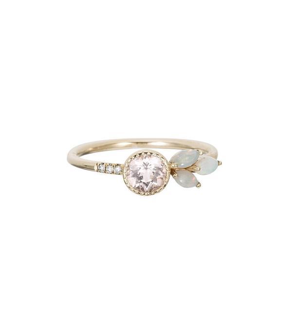 Jennie Kwon Morganite Opal Leaf Ring