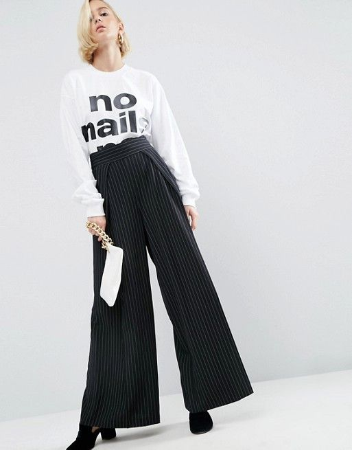 WAH London x ASOS Relaxed Tailored Trouser In Pinstripe