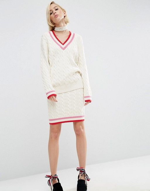WAH London x ASOS Cable Knit Cricket Jumper