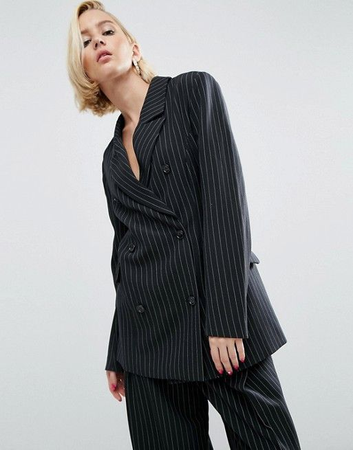 WAH London x ASOS Double Breasted Blazer In Pinstripe