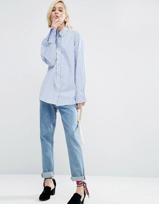 WAH London x ASOS Stripe Oxford Shirt With Pearl Buttons