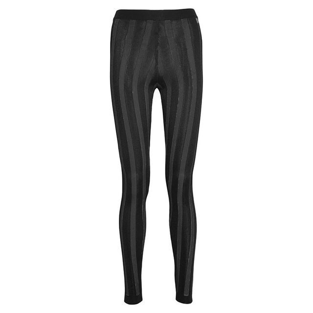 Balmain Black Striped Stretch-Knit Leggings