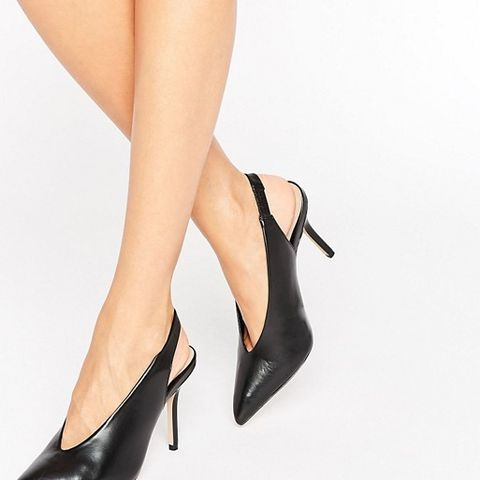 Minett Black Point Slingback Heeled Shoes