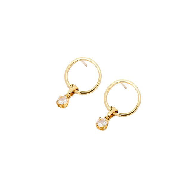 Holly Ryan Gold Hoop and Stone Stud Earrings