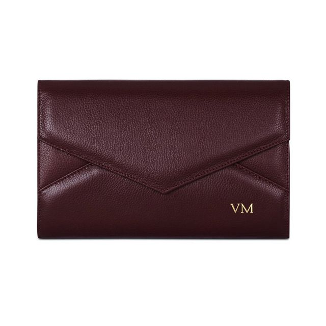 Mon Purse Grainy Leather Triangle Envelope Clutch in Burgundy