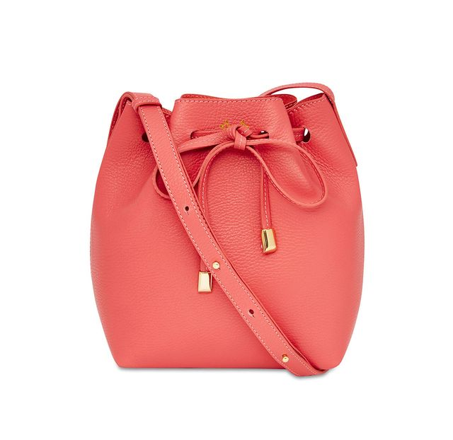 Mon Purse Grainy Leather Mini Bucket Bag in Coral
