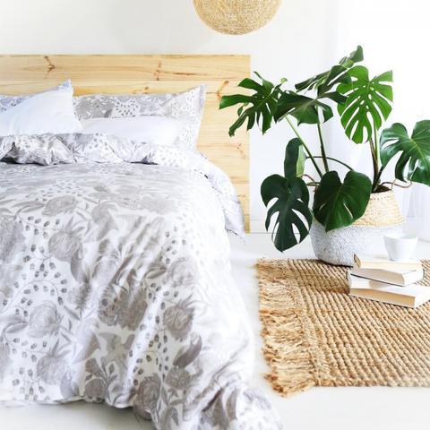 Skulls & Roses Bed Set – Grey – King