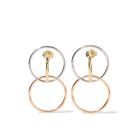 Galilea Gold-Dipped And Silver Hoop Earrings