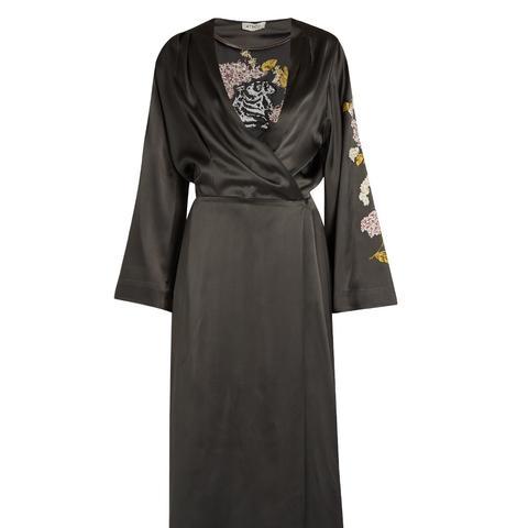 Faye Embroidered Satin Dress