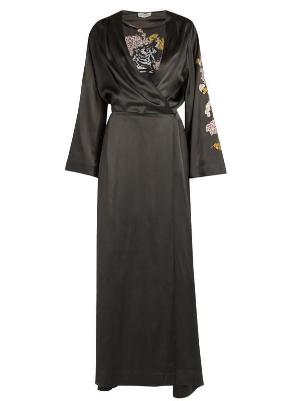 Attico Faye Embroidered Satin Dress