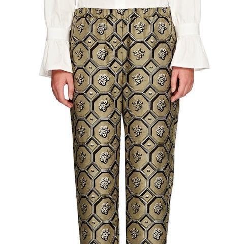 Octagonal-Print Silk Crop Pajama Pant