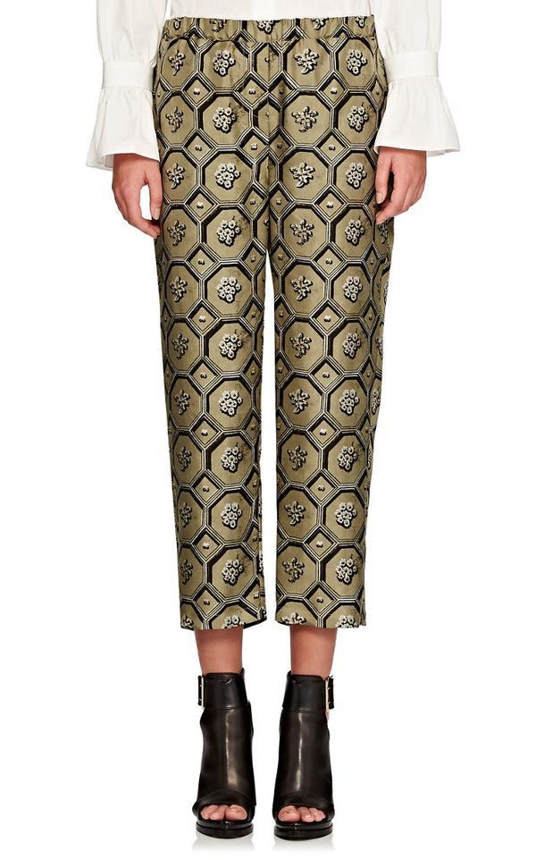 Burberry x Barneys New York Octagonal-Print Silk Crop Pajama Pant