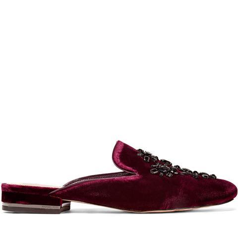 Edie Crystal-Embellished Velvet Slippers
