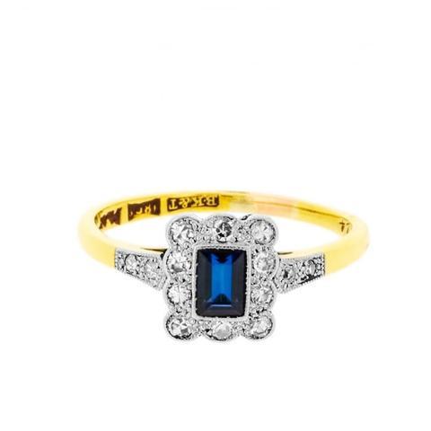 Art Deco Rectangular Sapphire And Diamonds Ring