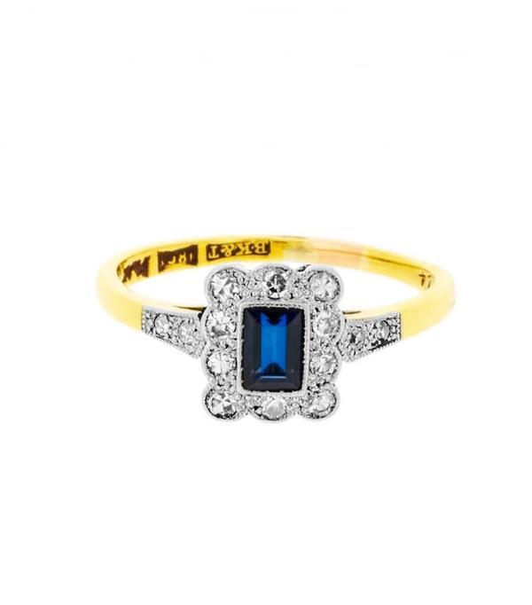 best engagement rings: Lila's Art Deco Rectangular Sapphire And Diamonds Ring, £760
