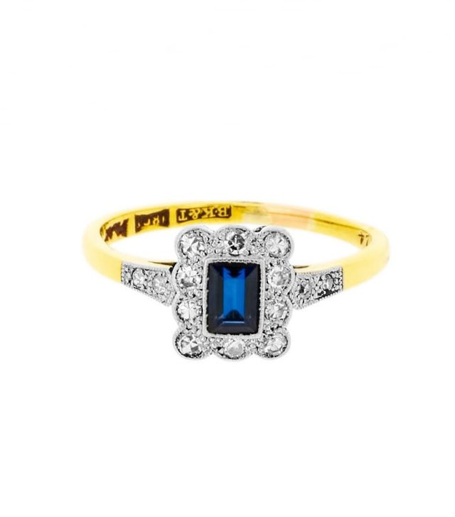 Best Engagement and Diamond Rings: Lila's Art Deco Rectangular Sapphire And Diamonds Ring, £760