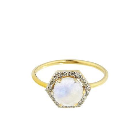 14k Gold Vermeil Hexagon Moonstone and Diamond Ring