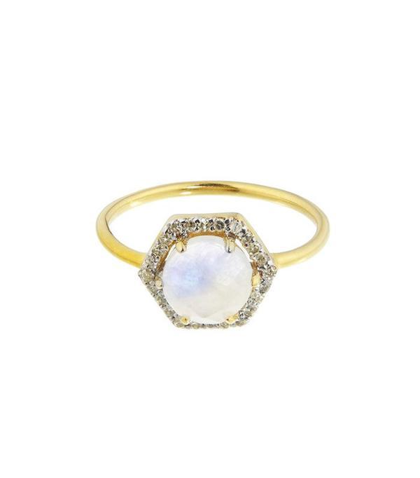 best engagement rings: Carrie Elizabeth 14k Gold Vermeil Hexagon Moonstone and Diamond Ring