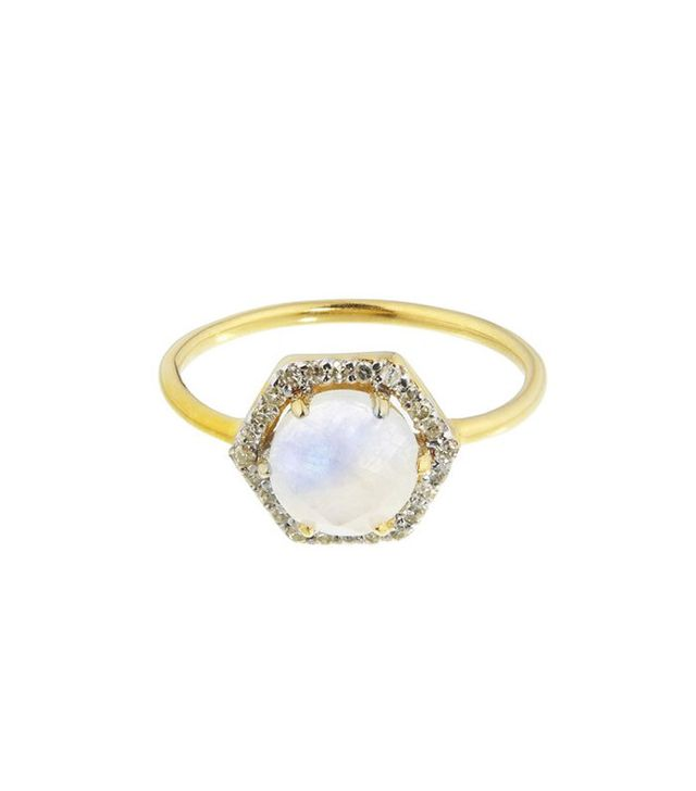 Best Engagement and Diamond Rings: Carrie Elizabeth 14k Gold Vermeil Hexagon Moonstone and Diamond Ring