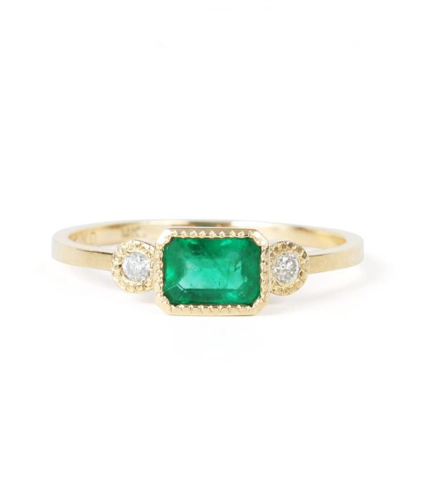 best engagement rings: Jennie Kwon Lexie Emerald Ring,