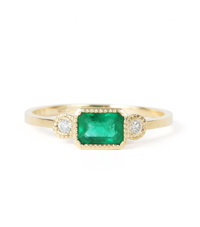 Best Engagement and Diamond Rings: Jennie Kwon Lexie Emerald Ring,