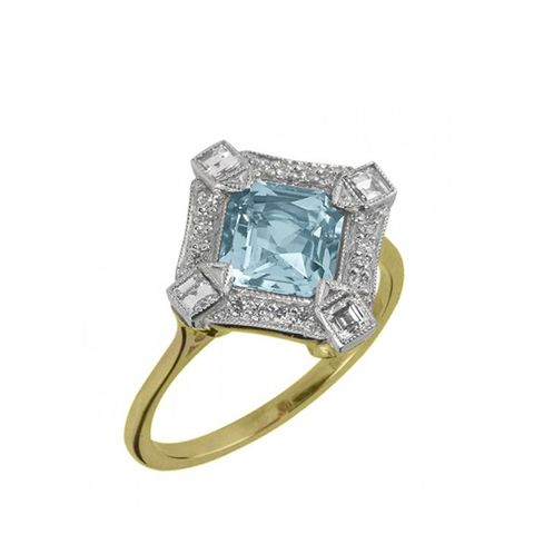 Aquamarine and Diamond Cluster Ring in Platinum and Yellow Gold