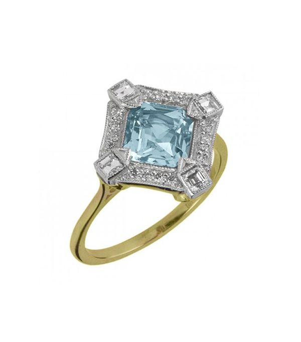 best engagement rings: The London Victorian Ring Co. Aquamarine and Diamond Cluster Ring in Platinum and Yellow Gold
