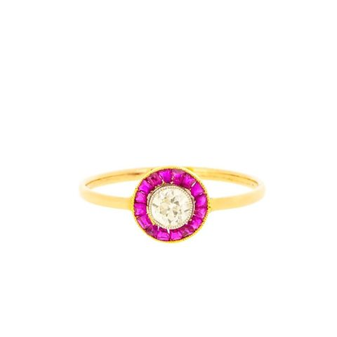 Art Deco Ruby And Diamond Target Ring