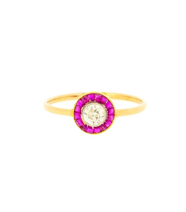 best engagement rings: Lila's Art Deco Ruby And Diamond Target Ring