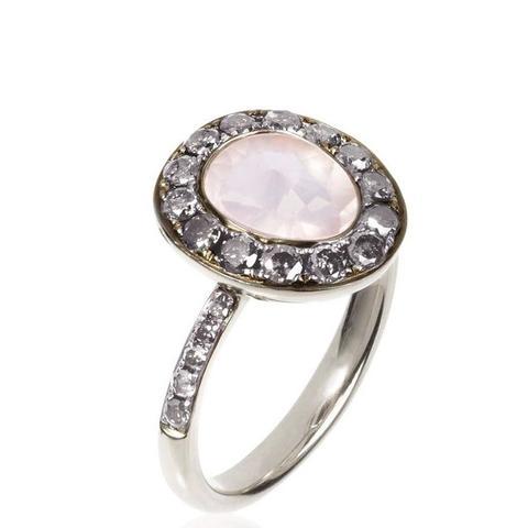 Dusty Diamonds Rose Quartz Ring