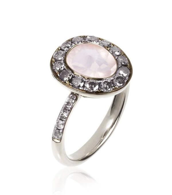 Annoushka Dusty Diamonds Rose Quartz Ring