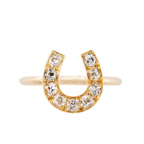 Old Cut Diamond Horseshoe Ring