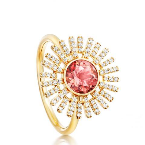 Pink Tourmaline Setting Sun Ring