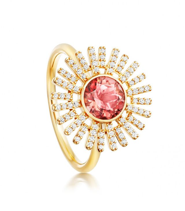 Best Engagement and Diamond Rings: Astley Clarke Pink Tourmaline Setting Sun Ring