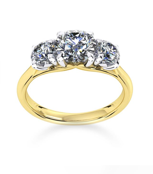 Best Engagement and Diamond Rings: Mappin & Webb Ena Harkness Three Stone Yellow Gold Ring
